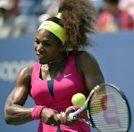 Serena Williams returns a backhand against Ekaterina Makarova of Russia during their 2012 US Open women's singles match at the USTA Billie Jean King National Tennis Center in New York. Williams won 6-4, 6-0