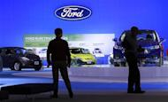 People visit the Ford exhibition at the Washington Auto Show