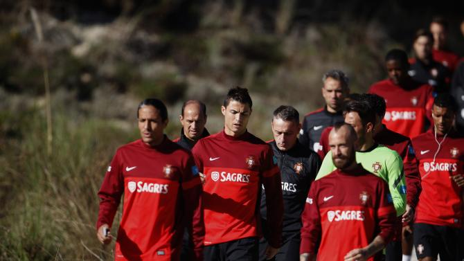 Portugal's team arrives for a training session in Obidos