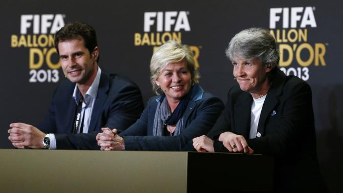 FIFA Ballon d'Or women's coach candidates Kellermann, Neid and Sundhage attend a news conference ahead of the FIFA Ballon d'Or 2013 soccer awards ceremony at the Kongresshaus in Zurich
