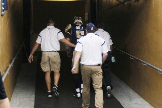 Winnipeg Blue Bombers quarterback Drew Willy (5) enters the tunnel after being injured during a sack by the Hamilton Tiger-Cats in first half of CFL action in Winnipeg on July 2, 2015. There's no