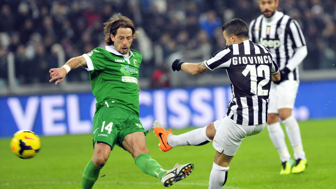 Juventus forward Sebastian Giovinco scores a goal during an Italian Cup soccer match between Juventus and Avellino at the Juventus stadium, in Turin, Italy, Wednesday, Dec. 18, 2013