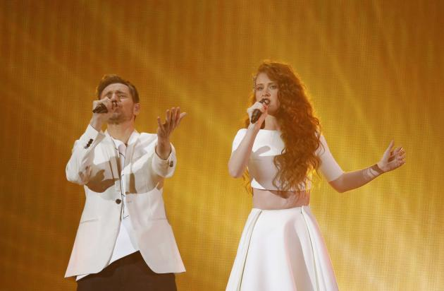 "Singers Morland and Scarlett representing Norway perform the song ""A Monster Like Me"" during the final of the 60th annual Eurovision Song Contest in Vienna"
