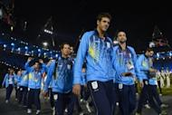 Greece's delegation parades during the opening ceremony of the London 2012 Olympic Games at the Olympic stadium in London