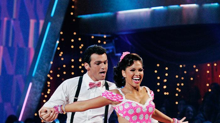 "Melissa Rycroft and Tony Dovolani perform the Lindy Hop to ""Brown Derby Jump"" by Cherry Poppin' Daddies on ""Dancing with the Stars."""