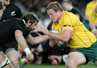 New Zealand All Blacks Samuel Whitelock (L) tackles Wallabies' James Slipper during their second Bledisloe Cup Test on August 25. It was the first time in 50 years the Wallabies have not scored a point against their trans-Tasman rivals dating back to a 3-0 defeat in Dunedin in 1962, and followed their 27-29 loss in Sydney the previous weekend