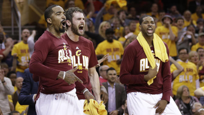 The Cleveland Cavaliers react in the second half against the Atlanta Hawks during Game 2 of a second-round NBA basketball playoff series, Wednesday, May 4, 2016, in Cleveland. (AP Photo/Tony Dejak)
