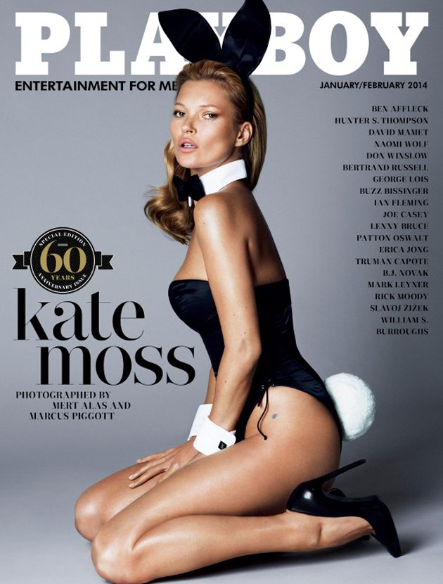 Kate Moss ziert das Jubiläumscover (Bild: Mert Alas and Marcus Piggott for Playboy)