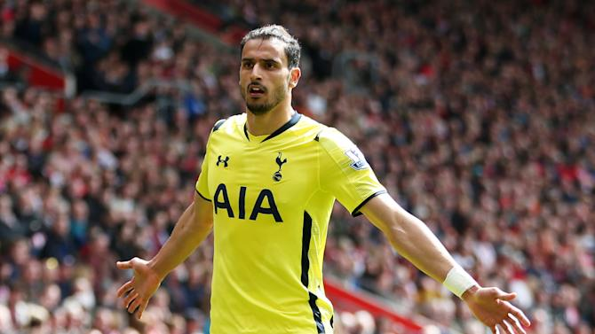 Football: Tottenham's Nacer Chadli celebrates scoring their second goal