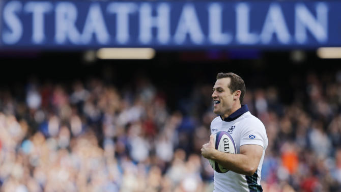 Scotland's Tim Visser runs in to score a try