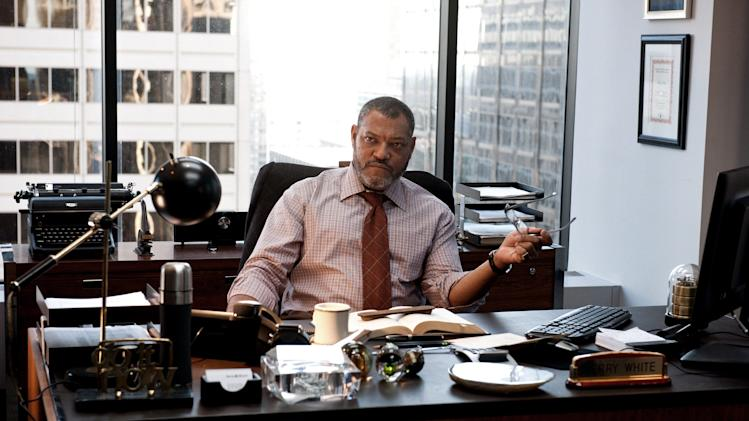"This film publicity image released by Warner Bros. Pictures shows Laurence Fishburne as Perry White in ""Man of Steel."" (AP Photo/Warner Bros. Pictures, Clay Enos)"