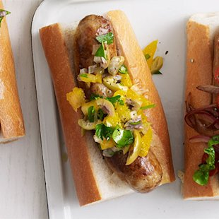 Get ready to relish the tastiness of this dish. Orange, olive, and onion add a sweet and unexpected twist to classic grilled sausages.