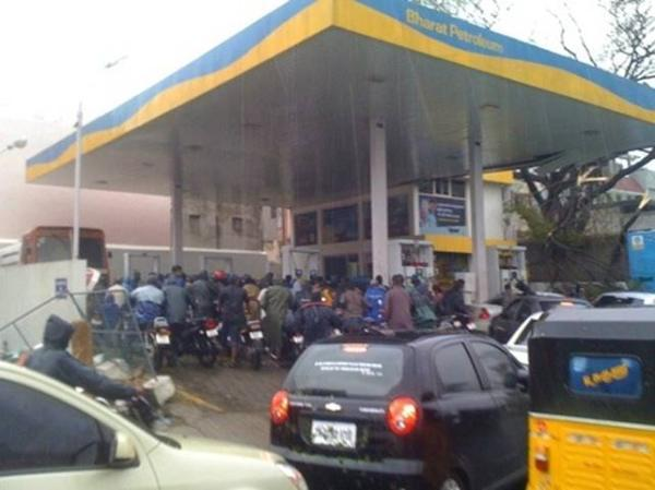 Residents queue up for fuel in Puducherry