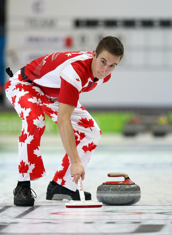 Derek Oryniak Of Canada In Action In The Mixed Doubles Curling At The Exhibition Centre Getty Images