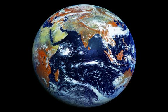 An image of the Earth taken by the Russian weather satellite Elektro-L No.1.