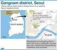 "Graphic map showing Gangnam district in the South Korean capital. South Korean rapper Psy has brought his hit ""Gangnam Style"" home with a raucous free concert in Seoul, capping a month of global chart success that turned the chubby 34-year-old into a national hero"