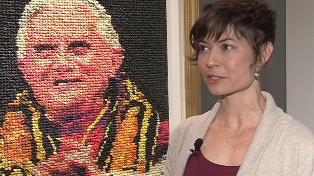 Artist makes portrait of former pope out of condoms