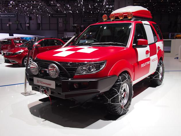 Tata Safari Storme. This is a fantastic adaptation of Tata's answer to the Toyota Land Cruiser with snow chains on the wheels, a colour-coded roof box and 'mountain rescue' graphics on the side. Laugh
