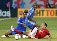 Paris Saint-Germain's Nene (R) and Chelsea's Gael Kakuta (C) and John Mikel Obi during a football friendly at Yankee Stadium on July 22. European champions Chelsea played to a 1-1 draw with Paris Saint-Germain