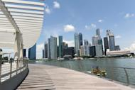 """This general view shows the financial business district in Singapore, pictured in April. Singapore warned on Thursday that a """"disorderly sovereign debt default"""" in the eurozone could not be ruled out as it stuck to its full-year growth forecast of 1.0 to 3.0 percent"""