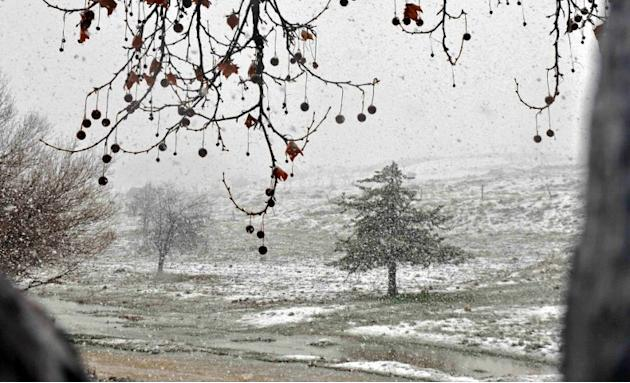A handout picture released by the official Syrian Arab News Agency (SANA) shows a general view of snow falling on the outskirts of Damascus on January 8, 2013.  AFP PHOTO/ SANA