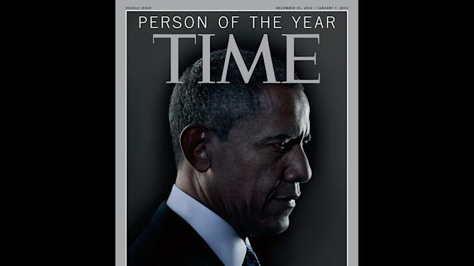 """In this image released Wednesday, Dec. 19, 2012 in New York by Time Inc., President Barack Obama is Time Magazine's Person of the Year.  The selection was announced Wednesday on NBC's """"Today"""" show. The short list for the honor included Malala Yousafzai, the Pakistani teenager who was shot in the head for advocating for girls' education. It also included Egyptian president Mohamed Morsi, Apple CEO Tim Cook and Italian physicist Fabiola Giannati. Obama also received the honor in 2008, when he was President-elect. Last year, """"The Protester"""" got the honor. (AP Photo/Time Magazine)"""