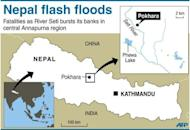 Map locating deadly flash floods near Pokhara, a tourist hub in Nepal's central Annapurna