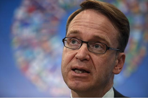 German Bundesbank President Jens Weidmann talks at a news conference at the 2015 IMF/World Bank Annual Meetings in Lima, Peru