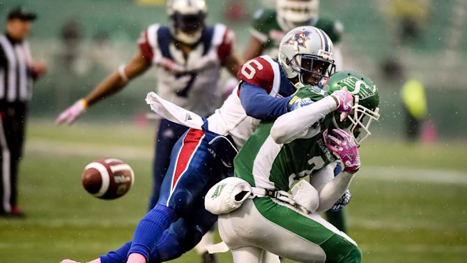 Montreal Alouettes defensive back Taylor guards Saskatchewan Roughriders wide receiver Collins Jr.  during the second half of their CFL football game in Regina