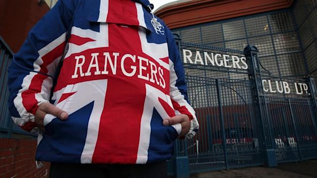 A Rangers fan outside Ibrox.