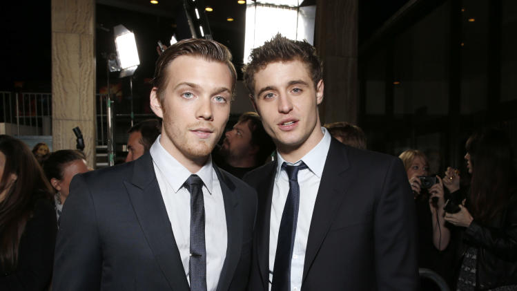 "Jake Abel and Max Irons arrive at the LA premiere of ""The Host"" at the ArcLight Hollywood on Tuesday, March 19, 2013 in Los Angeles. (Photo by Todd Williamson/Invision/AP)"