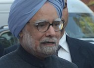 Indian Prime Minister Manmohan Singh at Parliament House to attend the winter session in New Delhi. India's parliament adjourned in uproar on the first day of what promises to be a stormy new session for the weakened government and its pro-market reform drive