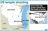 Map of the US state of Wisconsin, locating Oak Creek where a gunman attacked worshippers at the Sikh temple on Sunday, killing at least six people before he was shot dead by police
