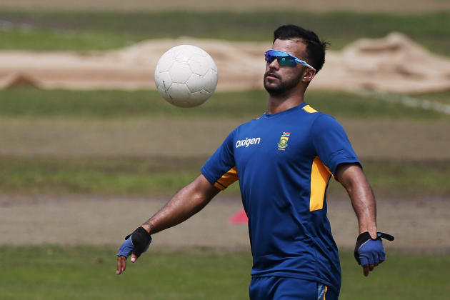 South Africa's Jean-Paul Duminy plays with a soccer ball during a practice session on the eve of the first Twenty20 match against Bangladesh in Dhaka, Bangladesh, Saturday, July 4, 2015. Bangladesh an