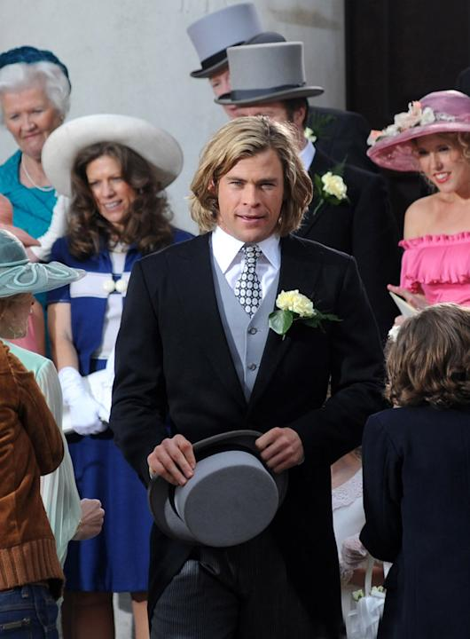 "Chris Hemsworth the film set of ""Rush"" on April 2, 2012 in London, England."