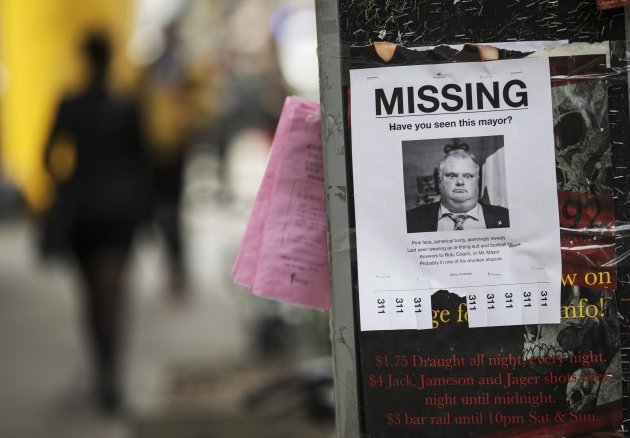 """A mock """"missing persons"""" poster with a picture of Toronto Mayor Rob Ford is seen in Toronto, May 7, 2014. (Reuters)"""