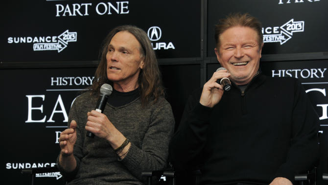 "Timothy B. Schmit, left, and Don Henley of The Eagles take part in a Q&A session with reporters at the 2013 Sundance Film Festival, Saturday, Jan. 19, 2013, in Park City, Utah. The documentary film ""The History of The Eagles Part 1"" is being shown at the festival. (Photo by Chris Pizzello/Invision/AP)"