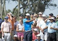 Tiger Woods during round two of the 94th PGA Championship on August 10. Woods birdied two of his first four holes then held on in blustery conditions for a one-under 71 to seize a share of the halfway lead