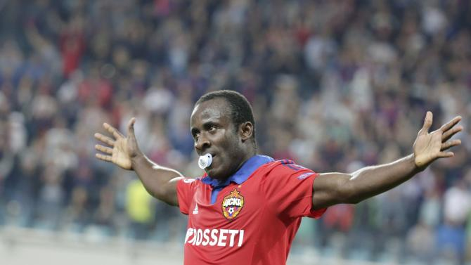 CSKA Moscow's Doumbia celebrates his goal against Sporting during their Champions League play-off second leg soccer match at Arena Khimki stadium outside Moscow