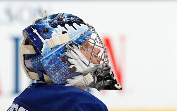 TORONTO, ON - OCTOBER 25 - Frederik Andersen #31 of the Toronto Maple Leafs checks the clock during the second period against the Tampa Bay Lightning at the Air Canada Centre on October 25, 2016 in Toronto, Ontario, Canada. (Photo by Mark Blinch/NHLI via Getty Images)