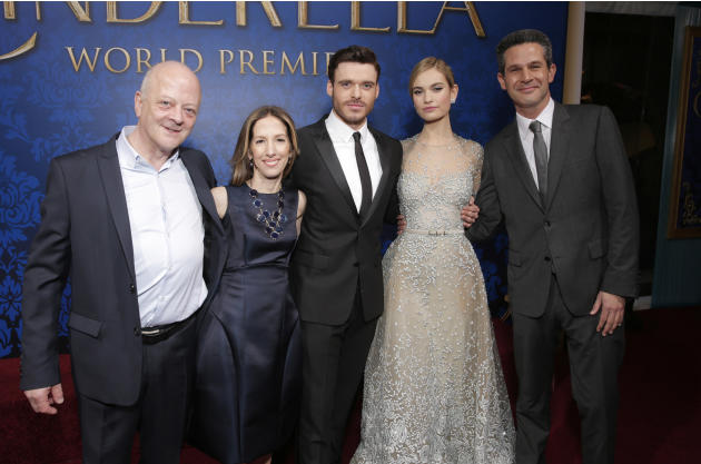 """Producers David Barron, Allison Shearmur, actors Richard Madden, Lily James and producer Simon Kinberg attends the World Premiere Of """"Cinderella"""" on Sunday, March 1, 2015, in Los Angeles. (P"""