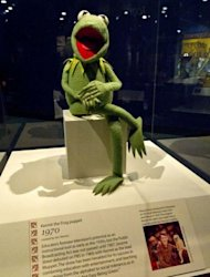 "A 1970's Kermit the Frog puppet from Sesame Street is on display at the Smithsonian Mueseum of American History in Washington, DC, during the press preview for ""American Stories"", a signature new exhibition"