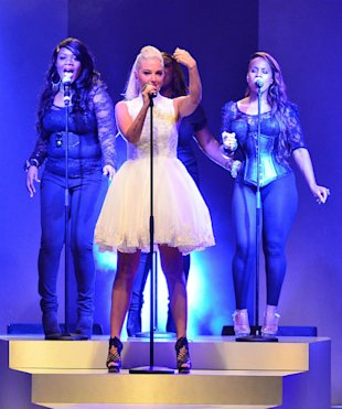 Tulisa Performs At London Fashion Weekend Launch In 'Ladylike' Ballerina Style Dress