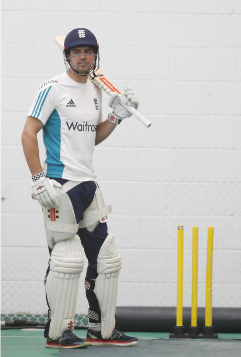England's Alastair Cook during nets