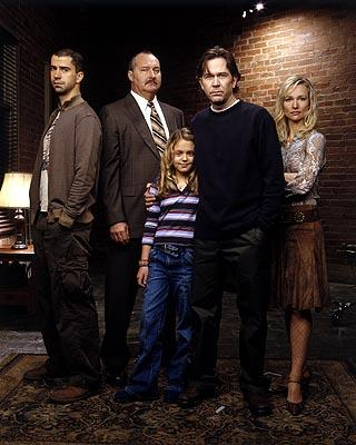 """Hamish Linklater as Carl, Randy Quaid as Sikorski, Gage Golightly as Jesse, Timothy Hutton as J.T. and Kari Matchett as Claudia Sci-Fi Network's """"Five Days to Midnight"""""""