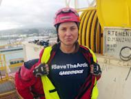 "FILE - In this Feb. 24, 2012 file photo provided by Greenpeace, actress Lucy Lawless joins activists in stopping a Shell-contracted drillship from departing the port of Taranaki, New Zealand. Lawless says she has ""no regrets"" for boarding a ship in a protest action which on Thursday, June 14, 2012 resulted in her pleading guilty to trespass charges. (AP Photo/Greenpeace, File) EDITORIAL USE ONLY"