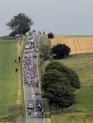 The pack rides in the 197 km and third stage of the 2012 Tour de France cycling race starting in Orchies and finishing in Boulogne-sur-Mer, northern France. Slovakian champion Peter Sagan continued his impressive start to his Tour de France debut with his second stage win inside three days on Tuesday