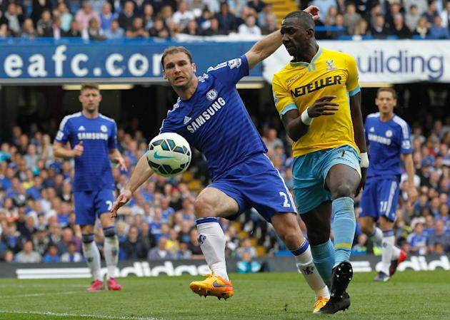 Chelsea defender Branislav Ivanovic (L) and Crystal Palace's Yannick Bolasie during their Premier League match at Stamford Bridge on May 3, 2015""