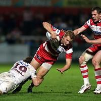 Bill Twelvetrees, centre, scored one of four Gloucester first-half tries