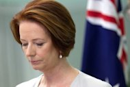 Australian Prime Minister Julia Gillard speaks to the media regarding the Australian soldiers killed in Afghanistan. Five Australian troops were killed in two separate incidents in Afghanistan in what Gillard described as the nation's deadliest day in combat since the Vietnam War